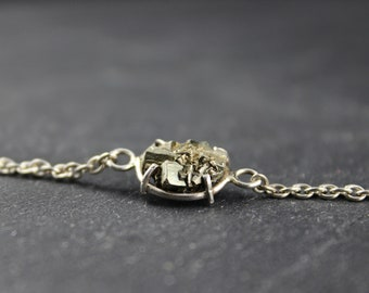 Pyrite and silver bracelet