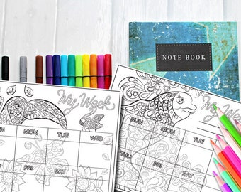2 page printable week planner-to colour in- digital download -Adult colouring planner