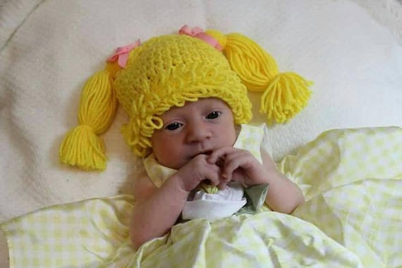 Cabbage patch kids inspired crochet hat crochet baby hat
