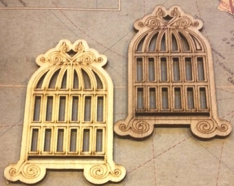 2 Wood Cut Bird Cages / Mixed Media Supply / Craft Supplies / unfinished wood / embellishments / altered art / assemblage