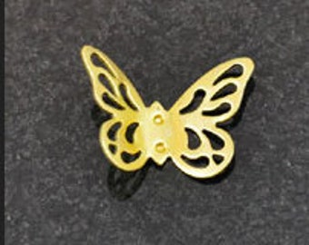 Filigree butterfly charm 25mm brass , 6 each 15130