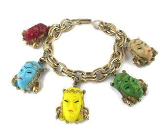 Asian Princess Bracelet/ Mid-Century Glass Faces  Gold Tone Charm Bracelet/ Yellow Green Blue Asian Princess/ Double Link Charm Bracelet