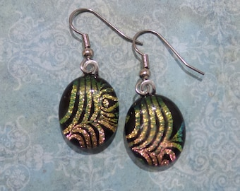 Dichroic Earrings, Gold, Peach, Pink, Dangle Earrings, Hypoallergenic Earring, Fused Glass Jewelry, Ready to Ship - Golden Peach - 6