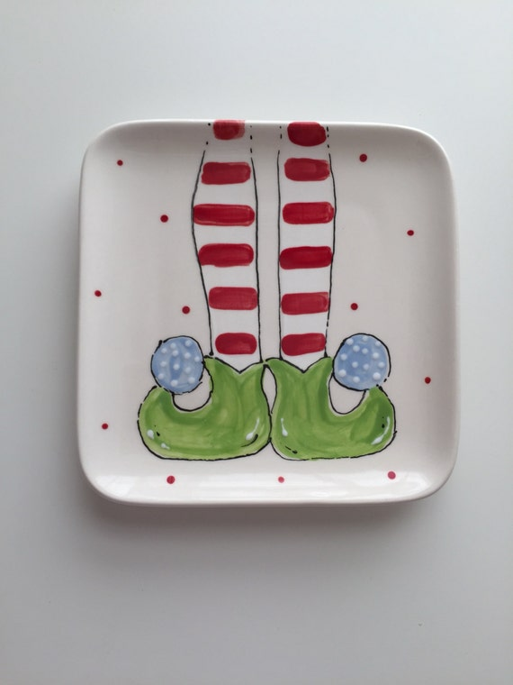 Hand painted, ceramic, Elf feet plate, Christmas dessert plate, elf dessert plate, holiday plate, kids Christmas plate
