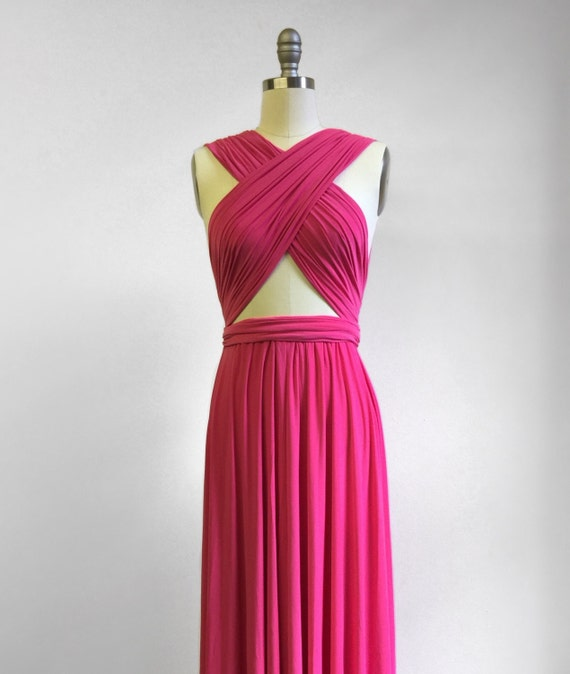 Heißes Rosa kurz Infinity Kleid Cabrio formale Mehrwege-Wrap