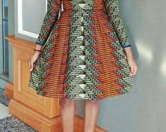 Bola Skater dress, African dress, Short  dress, Skater dress, African print, African dress, African Wax fabric, African fabric