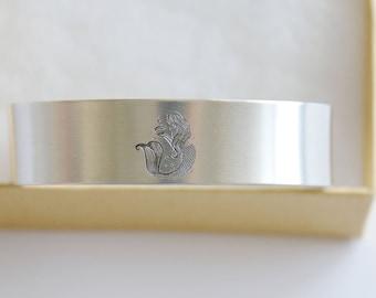 Mermaid Cuff Bracelet, I'm really a Mermaid Bracelet Handstamped Jewelry, Friendship Gift, Aluminum, Thick Bracelet, Best Friend