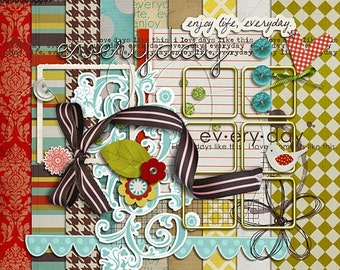 Everyday - Digital Scrapbooking kit for Fall, Autumn, 365 INSTANT DOWNLOAD