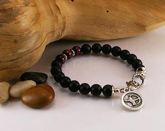 Men zodiac gemstone bracelet with matte black onyx and red tigereye with zodiac sign, gemstone bracelet, bracelet, men bracelet, men jewelry