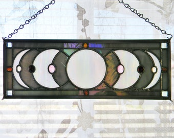 Lunar Eclipse Stained Glass Window Panel in Iridescent Grey, White, and Pink - Ready to Ship