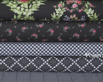 4 Half Yard bundle GUERNSEY in charcoal .. Brenda Riddle Designs .. Moda fabric .. grey and black colorway