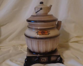 COOKIE JAR ~  Stove with Teapot lid.  Made in Japan, Vintage