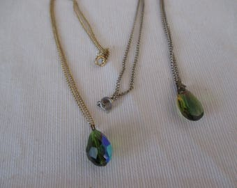 set of two Vintage green iridescent faceted glass crystal necklaces