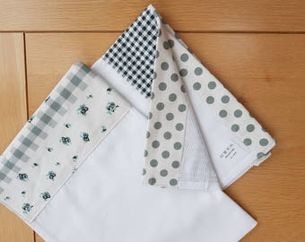 Pack of 2 Fleur and Check 100% COTTON TEA TOWELS
