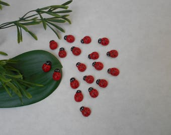 Ladybug red and black wooden - adhesive sponge - sold by 10