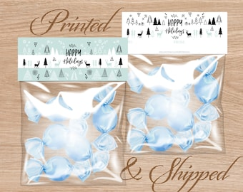 Candy Bag Labels, Candy Bag Toppers, Treat Bag Toppers, Favor Bags Toppers, Printed and Shipped - Happy Holidays
