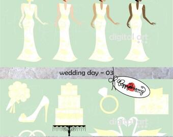 Wedding Day 03: Clip Art Pack (300 dpi transparent png) Wedding Bride Bridal Shower Dress Wedding Cake Bouquet