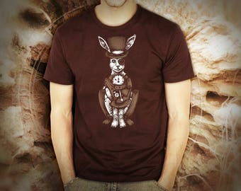 Steampunk white rabbit brown t shirt for men, screen printed men's short sleeve tee shirt, Size S, M, L, XL, XXL