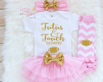 Baby Girl Clothes, Baby Girl Outfit, Baby Football Outfit, TuTus and Touchdowns, baby girl football shirt, Baby Bloomers football baby, SP2P