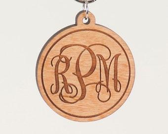 Monogram Initial Keychain - Personalized Monogam Key Ring - Custom Laser Engraved Wooden Charm - Gift for Her - Gift for Mom - Teacher Gift