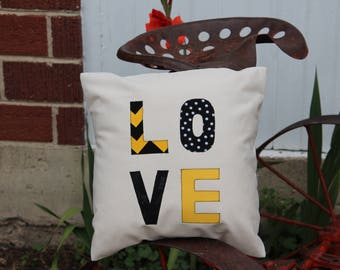 Black and yellow LOVE pillow