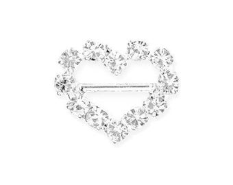 Mini Heart Rhinestone 12 mm with horizontal bar