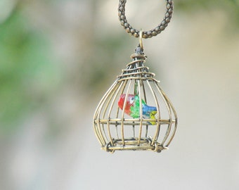 Fish in a Cage Necklace - Brass Cage Vintage Fish