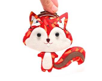 Chili red cute squirrel clutch purse