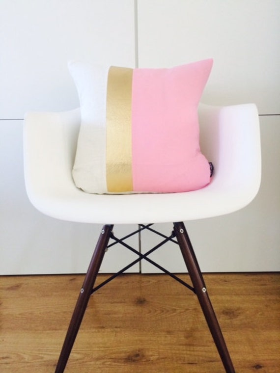 "Pink Modern Pillow Cover 18""x18"" Cushion Color Block Pale Pink White Linen Metallic Gold Faux Leather Modern Glamorous Home Decor"