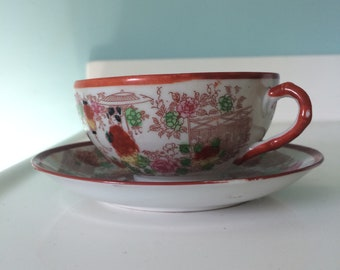 Antique Geisha Girl Teacups and Saucers - Set of 4