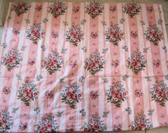 Vintage Barkcloth Roses French Shabby