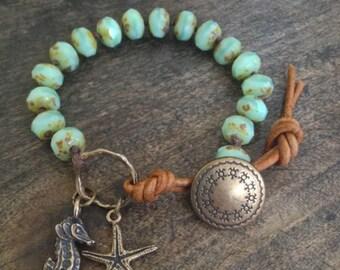 Beach Bracelet, Sea Horse Bracelet, Starfish Bracelet, Boho Wrap Bracelet, Leather Wrap, Ocean Inspired Jewelry, Two Silver Sisters