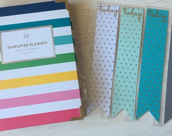 """Snap In """"Today"""" Page Markers For Emily Ley Simplified Planner / Inkwell Press Planners 