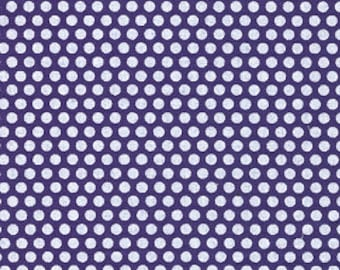 """Fabric Finders Purple and White Dime Sized Dots - 59"""" Wide Cotton Quilting Fabric by the Yard - listing is for HALF Yard - FWM"""