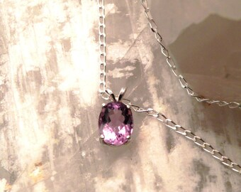 """10x8mm Amethyst & Sterling Silver 18"""" Necklace"""