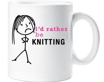 Knitting Mug I'd Rather Be Knitting Cup Friend Gift Present Secret Santa
