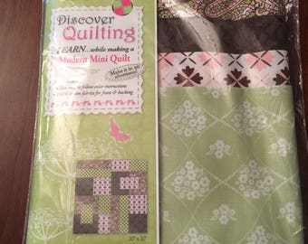 """Kit for 30x30"""" Pink, Green & Brown Quilt"""