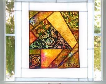 Tiffany Lampshade ~Fiber Art Batik Pojagi Patchwork Window Treatment~Stained Glass-Look ~ cafe / bathroom curtain ~bohemian window treatment