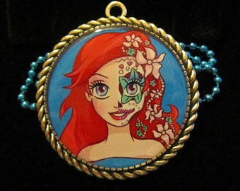 Sugar Skull Ariel Necklace-Mermaid Necklace-Day of the Dead-Handmade Resin Jewelry