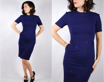 1950's Wiggle Dress - 50's Blue Embroidered Dress - Fitted Day Dress - Size XS