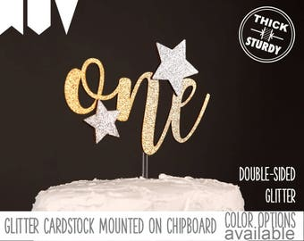 one cake topper with stars, first birthday cake topper, twinkle twinkle little star theme, Glitter party decorations, cursive topper
