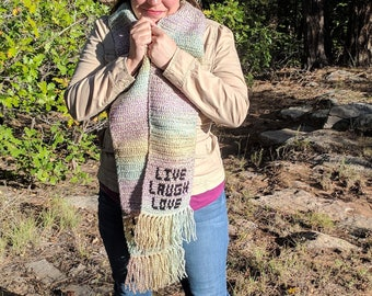 Live Laugh Love Scarf in Beautiful Beige Variegated Multicolor Pink, Purple, Blue, Green, Yellow Brown Crochet Scarves Crocheted Scarf
