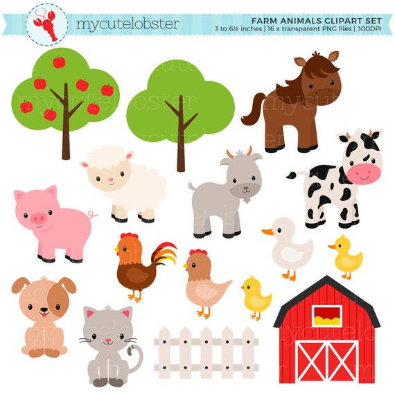 farm animals clipart set farm barn farmyard animals rh etsy com farm animals clipart black and white farm animals clip art free