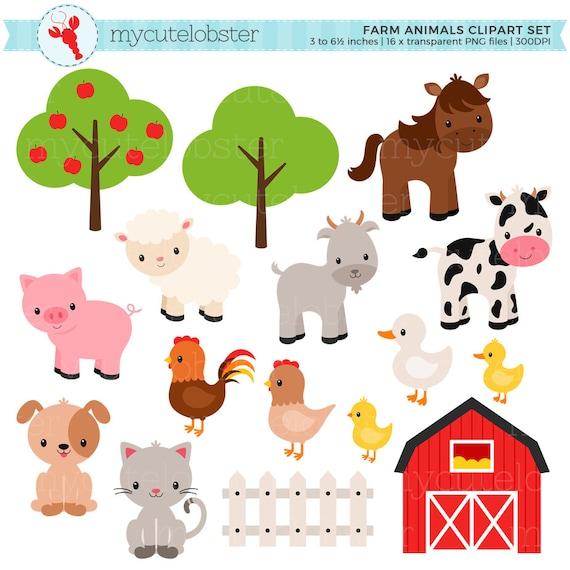 farm animals clipart set farm barn farmyard animals rh etsy com farm animals clipart for kids farm animal clipart for teachers
