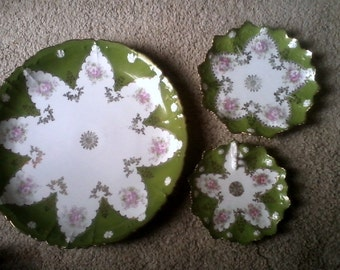 Sale-Gorgeous Victorian 3 Piece Plate Set- Austria Star