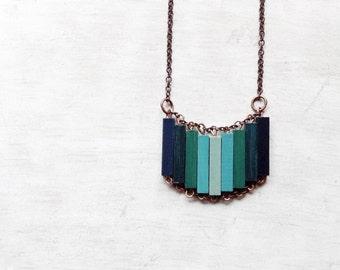 Wood Geometric Necklace // OXYGEN // Minimal Jewelry //  Blue // Mint // Indigo // Lavander // Hand-Painted Necklace // Modern Necklace