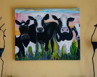 """Dairy Cows """"The Welcome Club"""", original painting on canvas dairy cows,reduced SHIPPING,  Cow painting;  wall decor; wall accessories"""