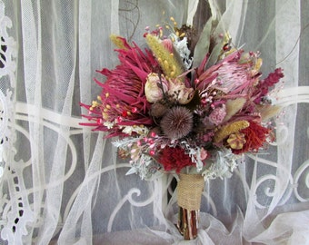 Wedding Bouquet Dried Flower Bouquet Dried Protea Pink Cream Sage Hand Tied Round Love In A Mist Roses Silver King Thistle Lambs Ear Millet