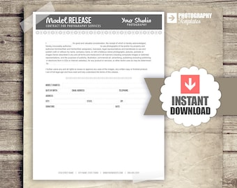 Photography Business Forms - Model Release Contract Form for Photographers  - Business Document Form Template 8.5x11 - INSTANT DOWNLOAD