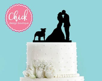 Couple Kissing with Pit Bull Dog Acrylic Wedding Cake Topper